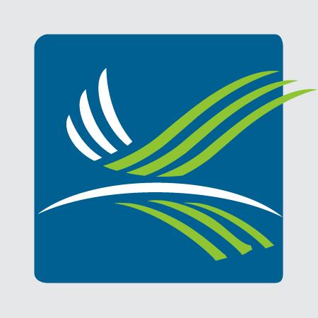 Bird logo on blue background