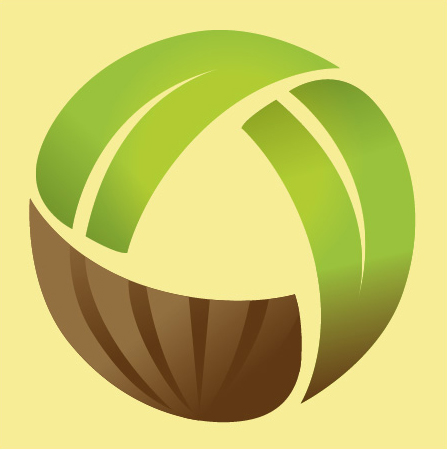 Green and brown logo on yellow background