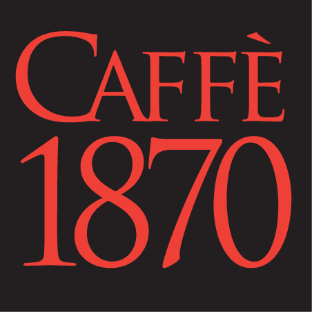 Red Caffe 1870 on balack background
