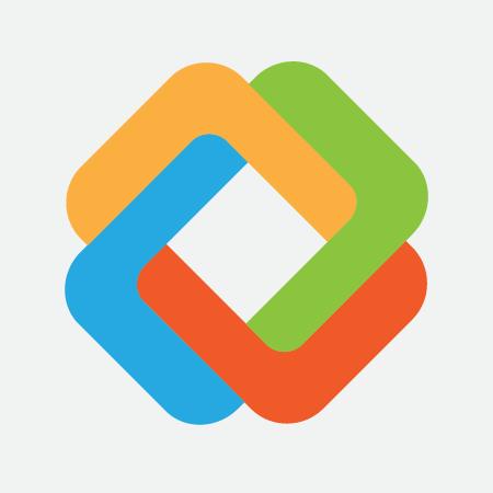 Multi-colored logo on grey background