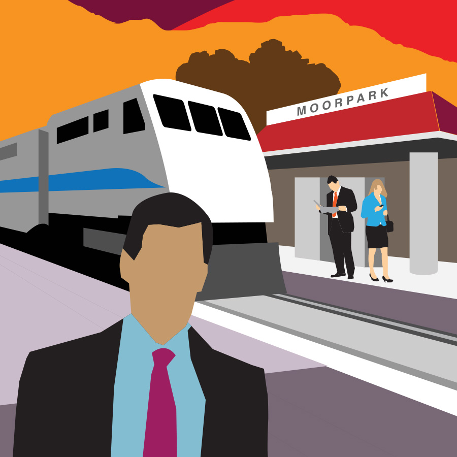 Illustration of train station with people waiting